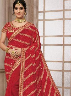 Satin Silk Embroidered Classic Designer Saree in Red
