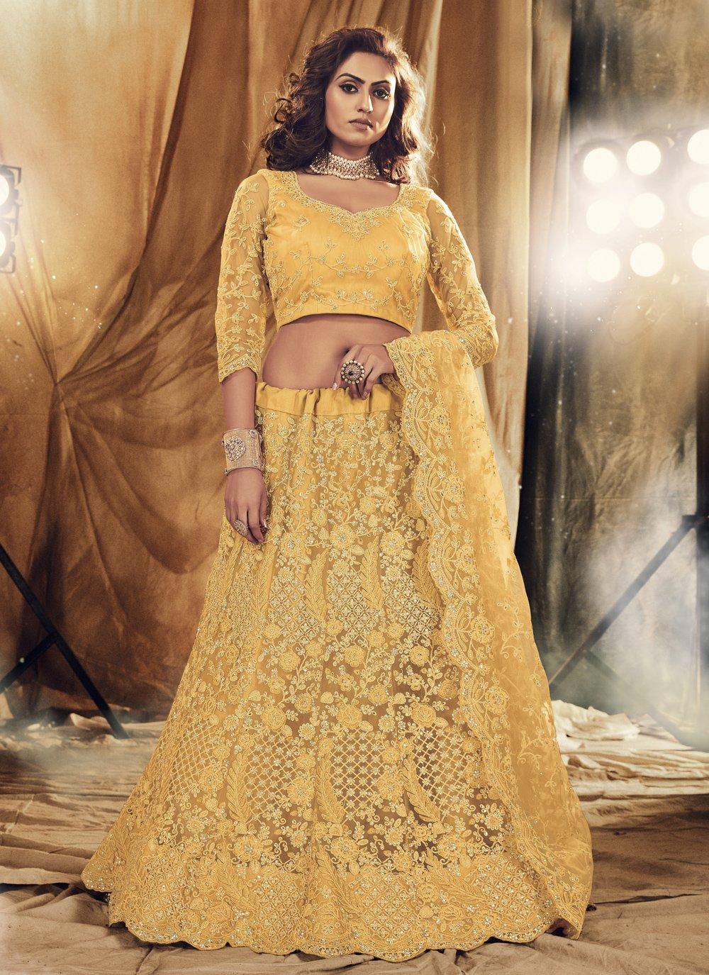 Satin Silk Embroidered Lehenga Choli in Yellow