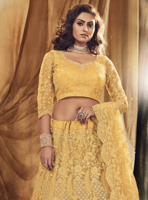Satin Silk Embroidered Lehenga Choli in Yellow