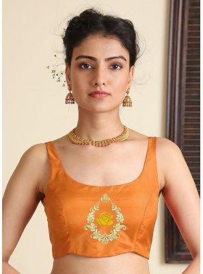 Satin Silk Embroidered Orange Blouse