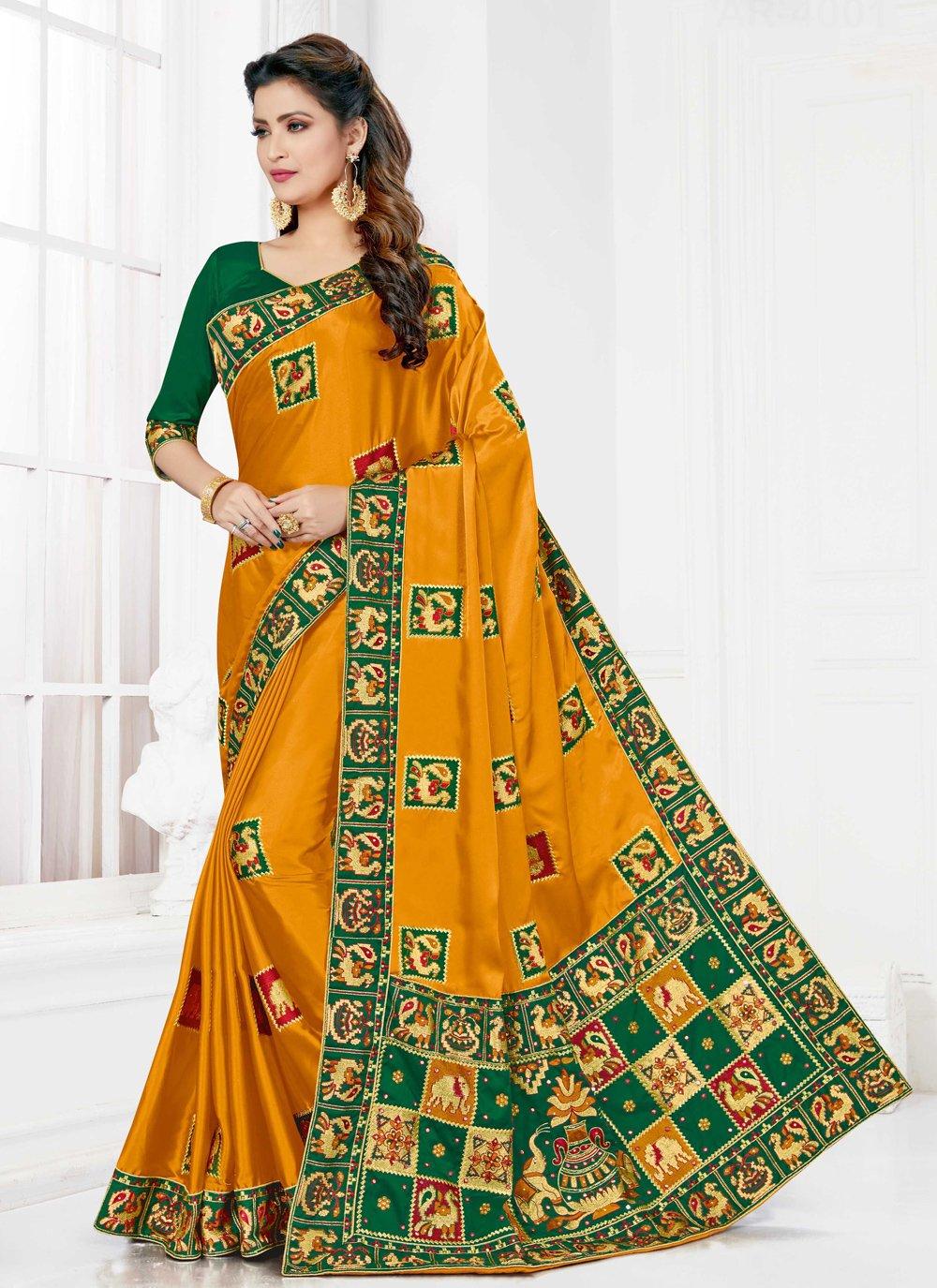 Satin Silk Engagement Designer Traditional Saree
