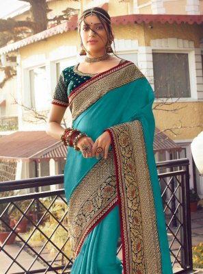 Satin Silk Fancy Designer Traditional Saree in Blue