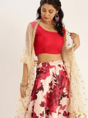 Satin Silk Floral Print Bollywood Lehenga Choli in Multi Colour