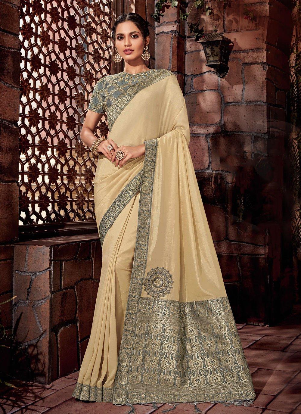 Satin Silk Lace Designer Saree in Cream