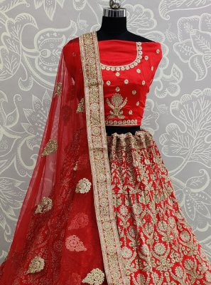 Satin Silk Lace Red Lehenga Choli
