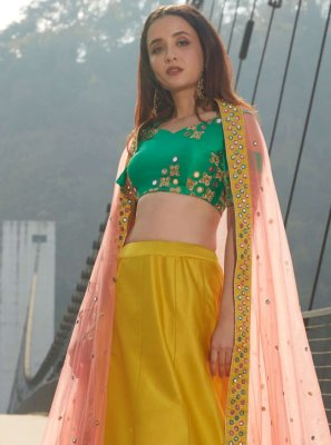 Satin Silk Lehenga Choli in Yellow