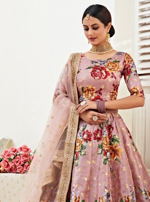 Satin Silk Mauve  Embroidered Lehenga Choli