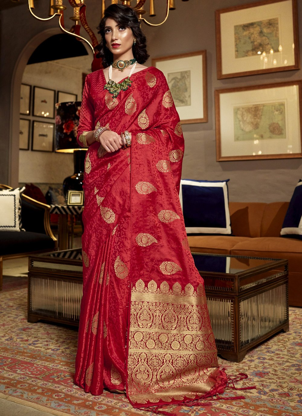 Satin Silk Mehndi Traditional Saree