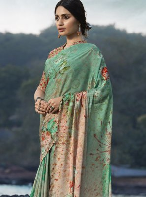 Satin Silk Multi Colour Abstract Print Printed Saree