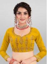 Satin Silk Mustard Lace A Line Lehenga Choli