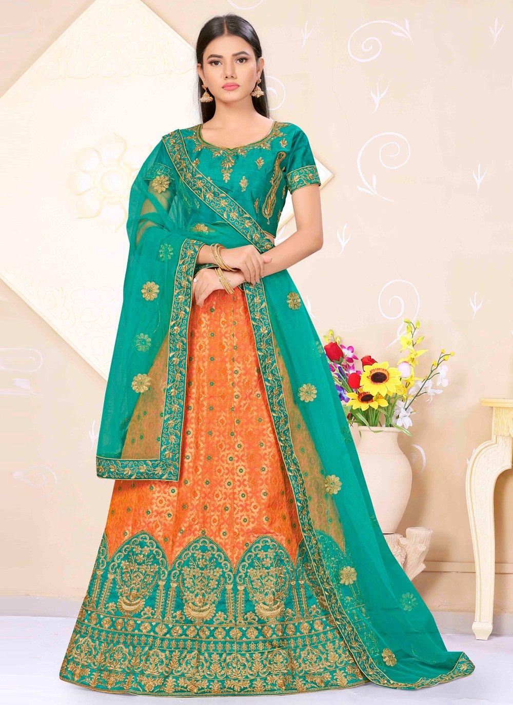 Satin Silk Orange and Sea Green Weaving Lehenga Choli