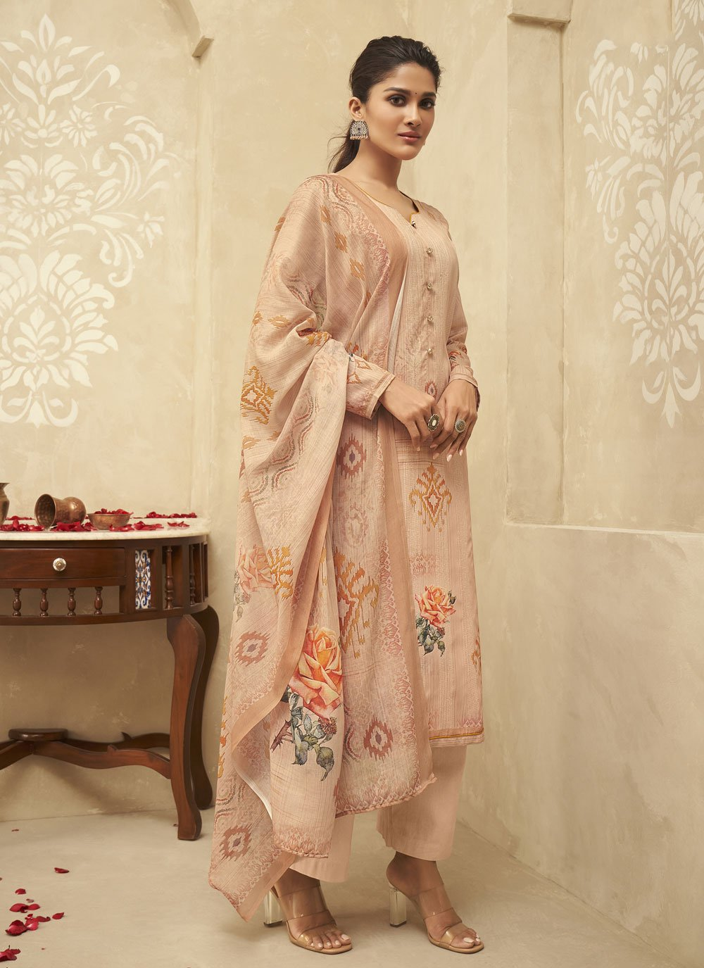 Satin Silk Peach Embroidered Designer Palazzo Suit