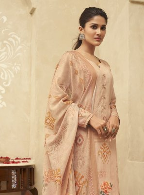 Satin Silk Peach Embroidered Designer Palazzo Suit