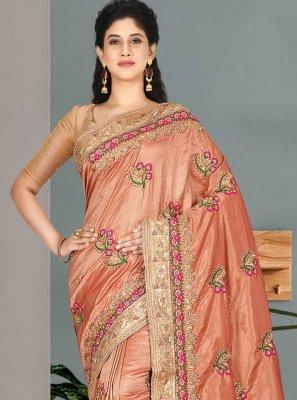 Satin Silk Pink Embroidered Classic Saree