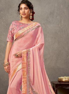Satin Silk Pink Embroidered Designer Saree