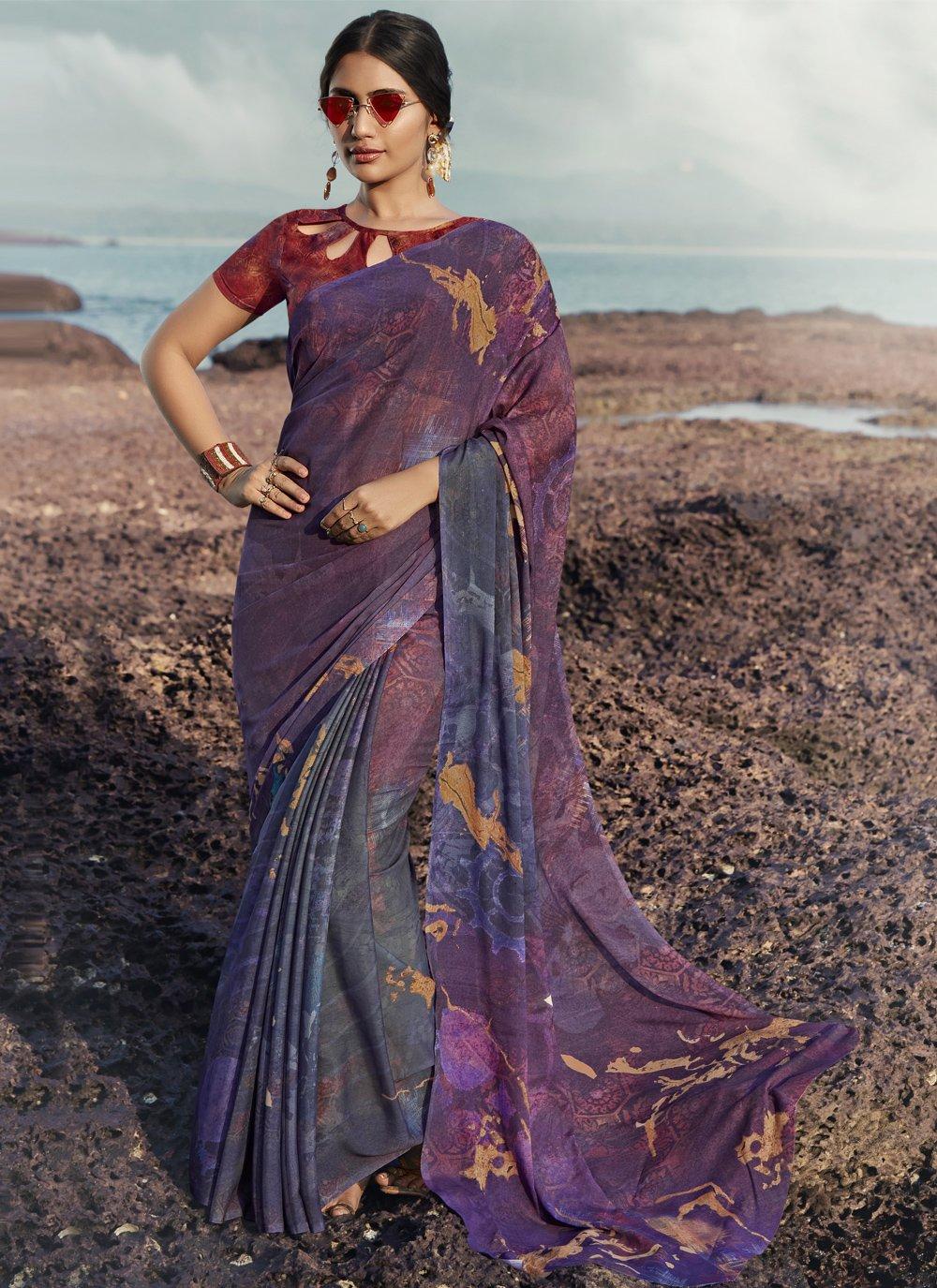 Satin Silk Printed Saree in Multi Colour