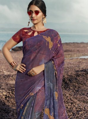 Satin Silk Printed Saree in Multi Colour