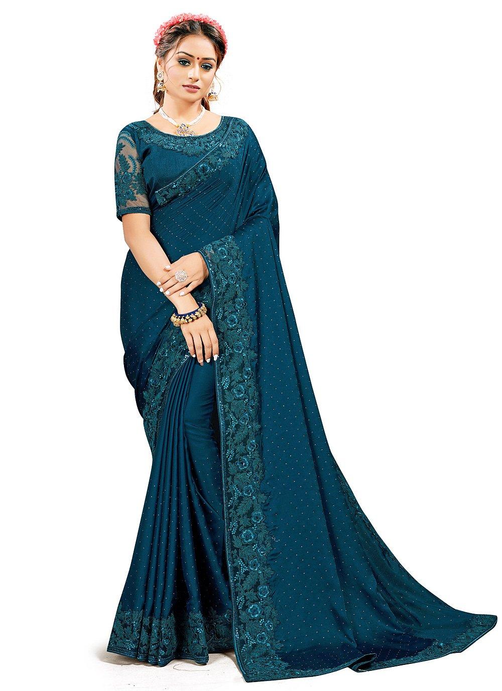 Satin Silk Rama Designer Traditional Saree