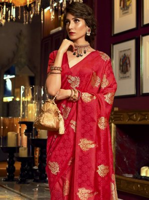 Satin Silk Red Classic Designer Saree