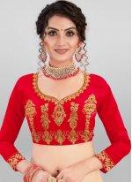 Satin Silk Red Embroidered A Line Lehenga Choli