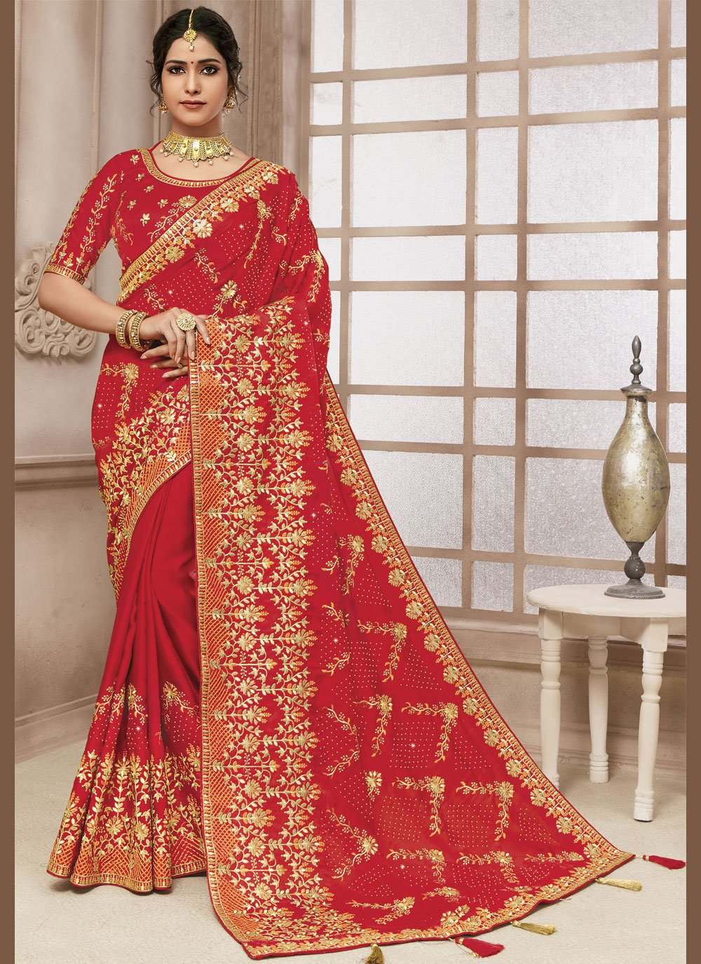 Satin Silk Red Embroidered Classic Designer Saree