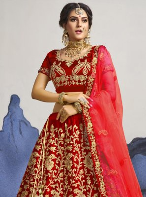 Satin Silk Red Zari A Line Lehenga Choli