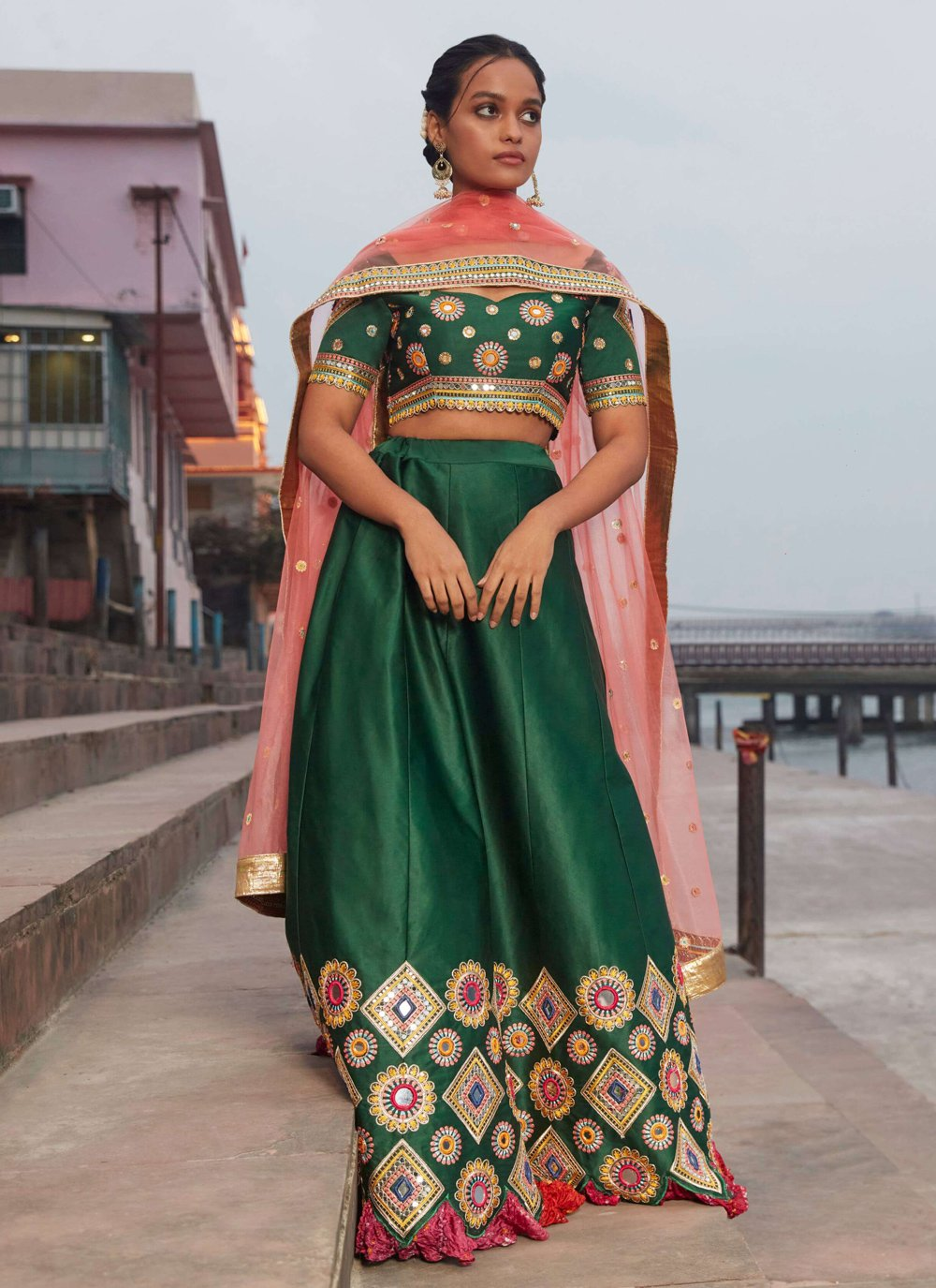 Satin Silk Sequins Green Lehenga Choli