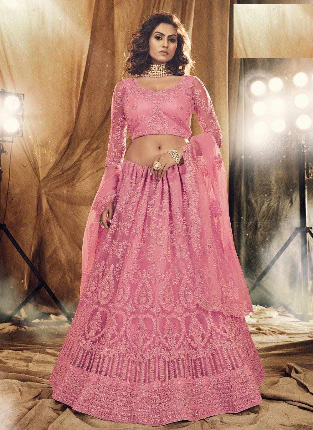 Satin Silk Stone Pink Lehenga Choli