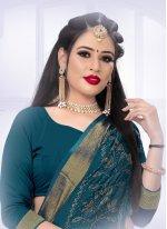 Satin Silk Swarovski Teal Designer Saree
