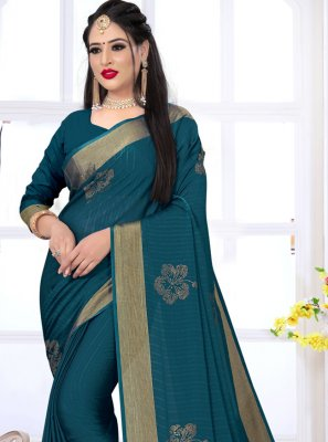 Satin Silk Swarovski Teal Designer Saree