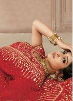 Satin Silk Traditional Designer Saree in Red