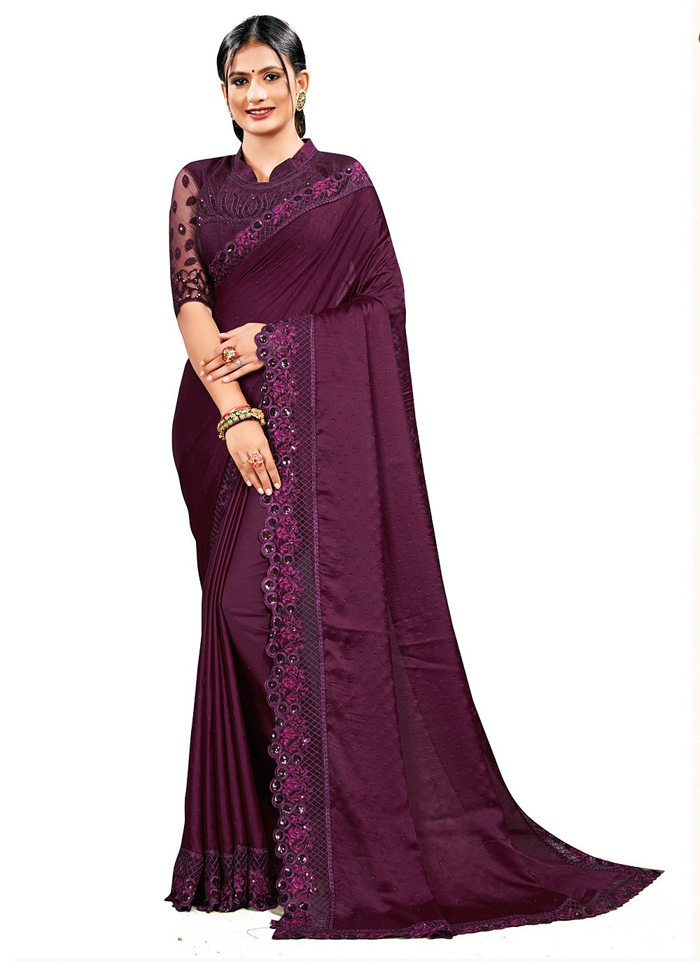 Satin Silk Wine Designer Saree