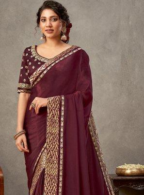Satin Silk Wine Patch Border Designer Saree