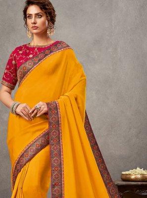 Satin Silk Yellow Designer Saree
