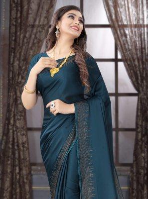 Satin Stone Trendy Saree in Blue