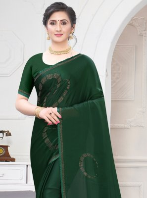 Satin Stone Work Green Traditional Saree