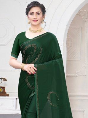Satin Stone Work Green Traditional Saree