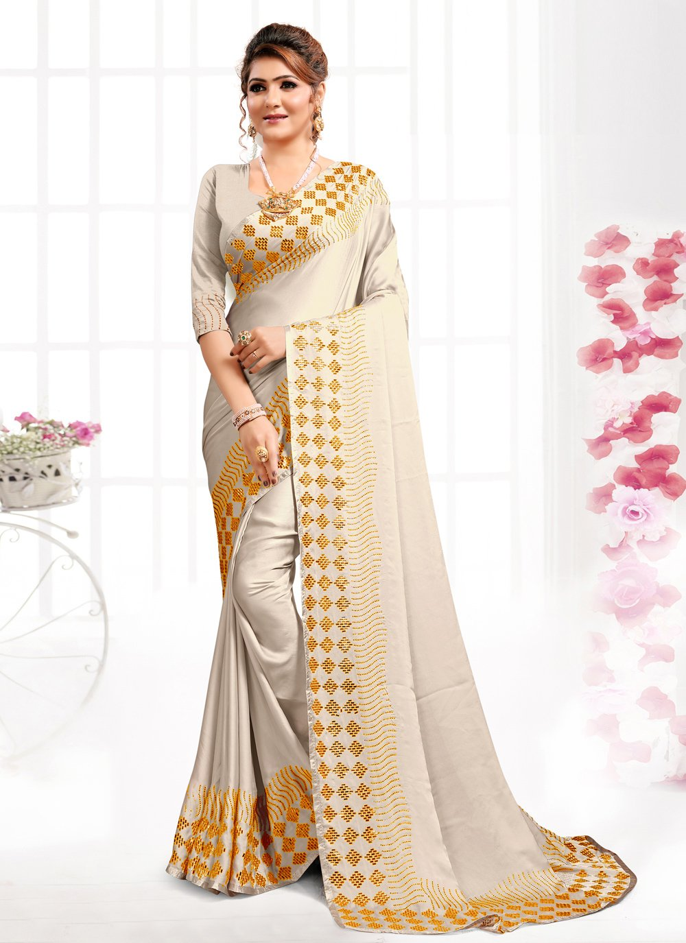 Satin Swarovski Grey Bollywood Saree