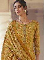 Satin Yellow Designer Palazzo Suit