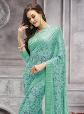 Sea Green Abstract Print Faux Georgette Printed Saree