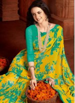 Sea Green and Yellow Faux Georgette Casual Printed Saree