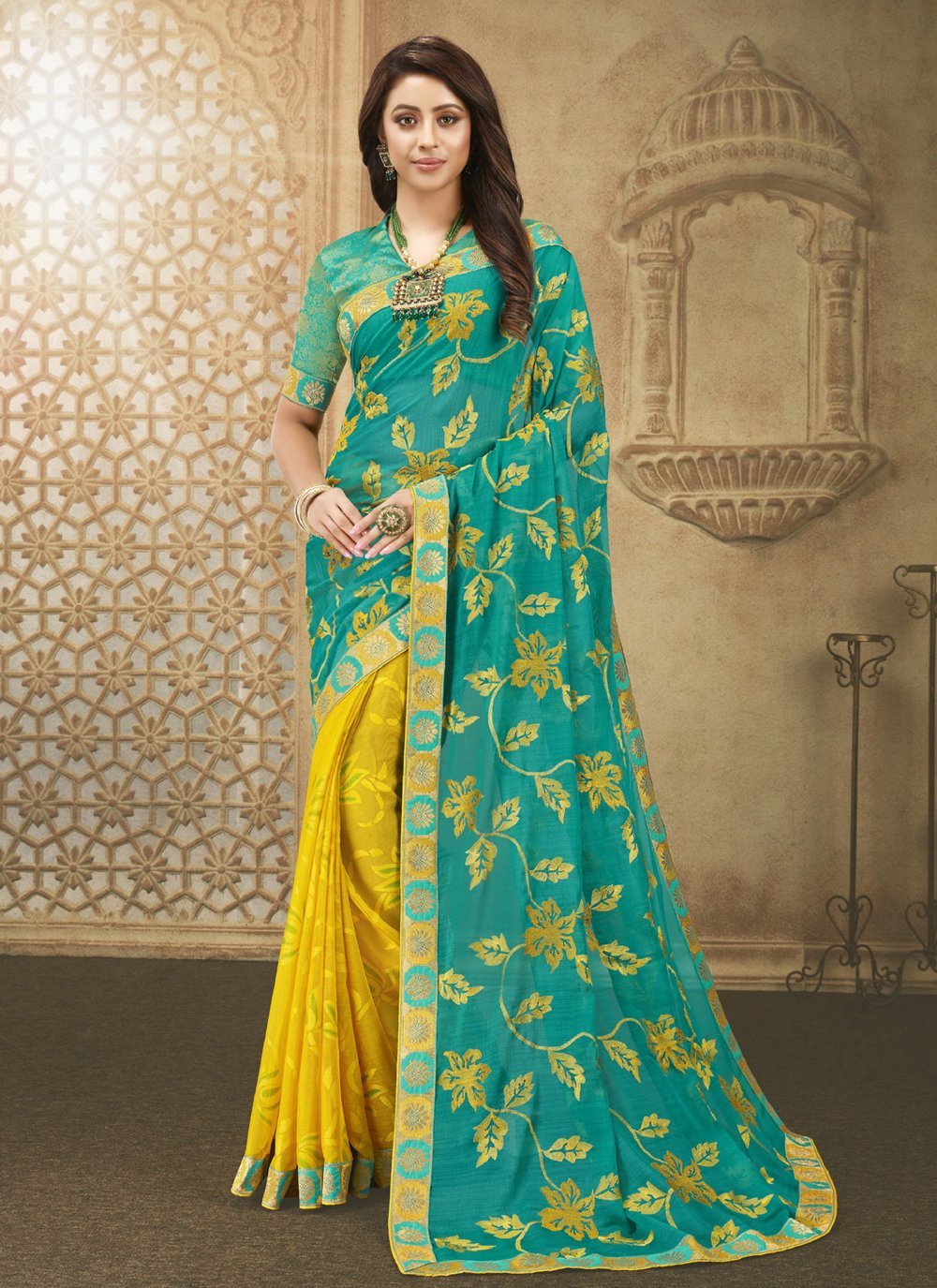 Sea Green and Yellow Patch Border Designer Half N Half Saree