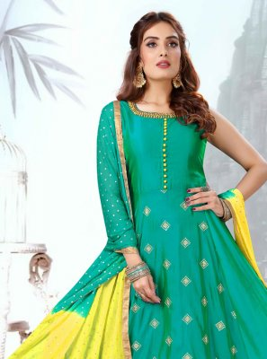 Sea Green Art Silk Embroidered Readymade Suit