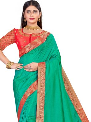 Sea Green Art Silk Festival Designer Traditional Saree