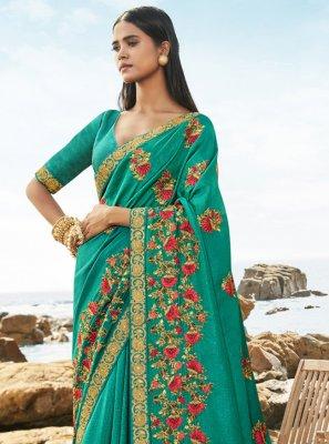Sea Green Art Silk Traditional Saree