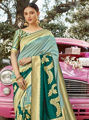 Sea Green Banarasi Silk Designer Traditional Saree