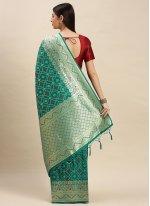 Sea Green Banarasi Silk Traditional Saree