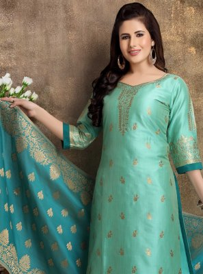 Sea Green Brocade Ceremonial Readymade Churidar Suit