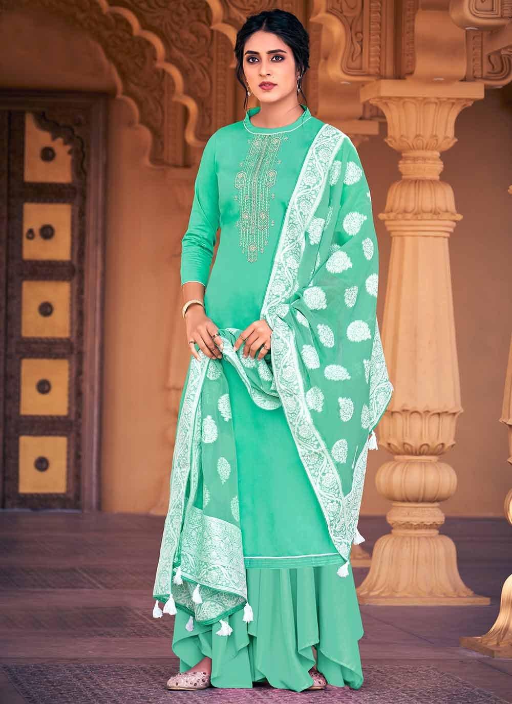 Sea Green Ceremonial Designer Palazzo Salwar Suit