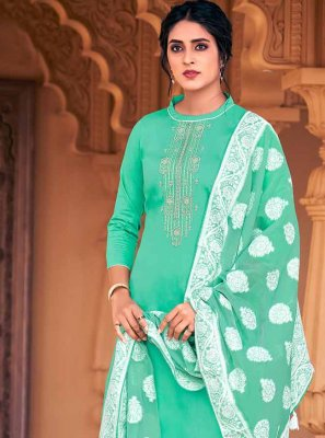 Sea Green Ceremonial Designer Palazzo Salwar Suit